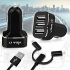 Fast Multi Port USB 3 in 1 Car Charger Socket Lighter Power Adapter 5.2A 26Watt
