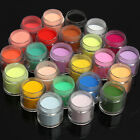 48 Colors Acrylic Powder Liquid Nail Art Set Glitter UV Gel Glue Tips Brush Kits