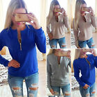 Women V Neck Tops Long Sleeve Shirt Loose Casual Blouse T-Shirt Cotton Sweater