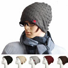 NEW Women Men Winter Skull Knit Beanie Reversible Baggy Wool Hat Warm Unisex Cap