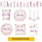 PINK BUNTING CHRISTENING Girl Party Range - Tableware Balloons Decorations {UQ}