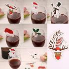 New 10Pcs Cartoon Pattern Christmas Champagne Glass Card Party Table B20E