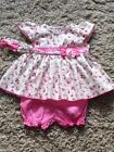 BABY GIRLS PINK FLORAL & SPOTTY 3 PIECE DRESS BLOOMERS HEADBAND 0-3 3-6 6-9