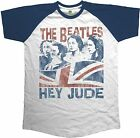 THE BEATLES Hey Jude Windswept Union Jack RAGLAN T-SHIRT OFFICIAL MERCHANDISE