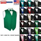 Men's Solid Satin Tuxedo Vest, Bow-Tie and Hankie. Formal, Dress, Wedding, Prom