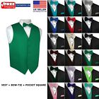Kyпить Men's Solid Satin Tuxedo Vest, Bow-Tie and Hankie. Formal, Dress, Wedding, Prom на еВаy.соm