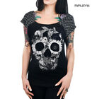 TOO FAST Clothing Rockabilly Black SKULL JUNGLE Polka Dot Bolivar Top All Sizes