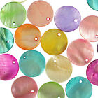 50 Mixed Colours Shell Mother of Pearl Round Coin Charm Beads 20mm
