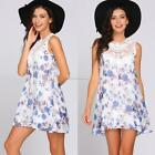 Women Sleeveless Floral Hollow Lace Patchwork O-Neck Mini A-line Dress SH