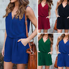 Women's Casual Loose V Neck Sleeveless Chiffon Shorts Jumpsuit Rompers Playsuit