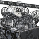 AGE 50 - Happy 50th Birthday BLACK & SILVER GLITZ -Party Range, Banners & Napkin