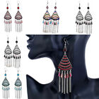 Women Multilayer Crystal Triangle Dangle Earrings with Tassel Beads Chain Decor