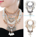 Fashion Chain Gothic White Pearl Acrylic Cluster Layers Choker Pendant Necklace