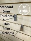"""8"""" Slatwall Single Pin Arms Hooks Prong Display Fitting Hanging Sold In 10 Or 20"""