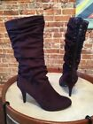 Kathy Van Zeeland Ono Purple Jeweled Ruched High Heel Boots New