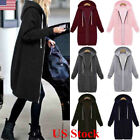 womens long winter coats - US Women Warm Zipper Hoodie Sweater Hooded Long Jacket Sweatshirt Coat Plus Size