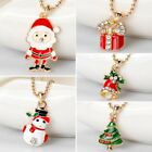 New Cute Christmas Tree Santa Claus Snowman Pendant Necklace Jewelry Party Gift