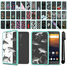 For ZTE Max XL N9560 Hybrid Clear TPU Teal bumper Protective Case Cover + Pen