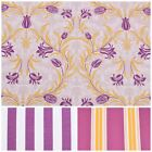 Aubergine 100% Cotton Floral Stripe Matching Upholstery Fabric curtains
