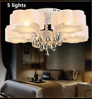Modern LED Crystal Ceiling Light Living Room Bedroom Lobby Pendant Lamp Remote