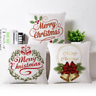 18 INCH MERRY CHRISTMAS LETTER PRINTED THROW PILLOW CASE LINEN CUSHION COVER UK