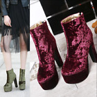 chic women's ladies velvet high heel platform ankle boots plus size US5-12 shoes