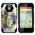 For Alcatel One Touch Elevate 5017B Dual Layer Case Stand Camo Color Girly Manly