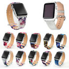 Plant Print Colorful Sequin Genuine Leather Wristband+Clasp Fr Apple Watch 3 2 1