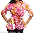 Pink/Yellow Floral Ruffle/Button/Loop Smocked Waist 3/4 Sleeve Top S