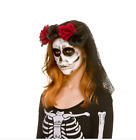 NEW Ladies Black Day Of The Dead Lace Veil - Fancy Dress Halloween Accessories