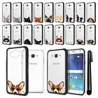 For Samsung Galaxy J7 J700 Animal Clear TPU Black Bumper Case Cover + Pen