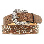 A1510602 Ariat Women's Croc Print Studs Crystals Brown Leather Belt NEW