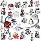 Sterling Silver Christmas Charm Pendants Spacer Bead for DIY Bracelets Necklace