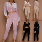 Womens Fashion Suede Tracksuit Hoodies Sweat & Pants Sets Sport Wear Casual Suit