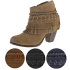Naughty Monkey In Lyne Women's Western Fringe Ankle Booties Boots