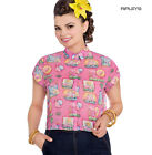 Hell Bunny 50s Retro Top Pink Flamingo MAXINE Cropped Blouse Shirt All Sizes