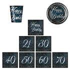 GLITZ BLUE FOIL TABLEWARE Decorations - Party/Ranges/18,21,30,40,40,50,60,70
