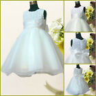 Free Shipping Whites Christmas Wedding Party Flower Girls Dresses AGE 1 to 10 Y