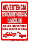 Spanish Sign. Size Options Advertencia Estacionamiento Exclusivo Para Inquilinos