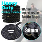 9m-12m-15m-18m-20m - Battle Rope 38mm Diameter - Home Gym Strength Bootcamp