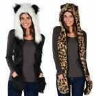 Gorgeous Ladies Warm Winter Animal Hat With Attached Scarf Leopard  Panda Design