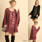 UMGEE Floral Embroidered Bell Sleeve Lace Hem Boho Mini Loose Tunic Swing Dress