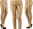 Ladies Girls Bronze Leather Look Skinny Trousers Jeans Sizes 4, 6