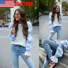 US Women Puff Long Sleeve Tops Ladies Casual Blouse Autumn Shirts Party T-Shirts
