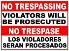 Bilingual No Trespassing Violators Prosecuted Sign. Size Options. Security