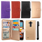 For LG G Stylo LS770 G4 Note Flip Holder Wallet Cover Case Wrist Strap + Pen
