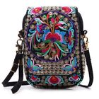 Women Shoulder Bag Travel Pouch Retro Floral Embroidered Crossbody Bag Zip Bag