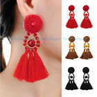 Vintage Ethnic Crystal Ear Stud Tribal Boho Rope Tassel Gold Dangle Drop Earring