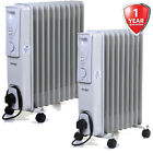 Oil Filled Radiators White Portable Electric Heater Adjustable Thermostat Fire