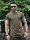 Mens Longline Gym T-Shirt Khaki Green Curved Hem Bodybuilding Workout Training